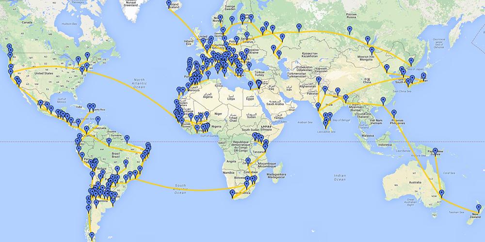 Carte de la marche mondiale pour la paix et la non-violence